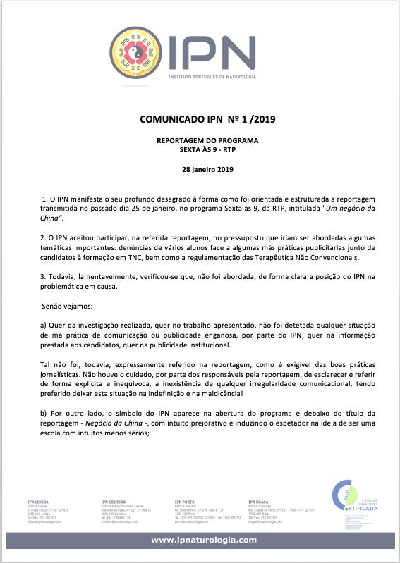 COMUNICADO IPN Nº1/2019 - REPORTAGEM DO PROGRAMA SEXTA ÀS 9 - RTP